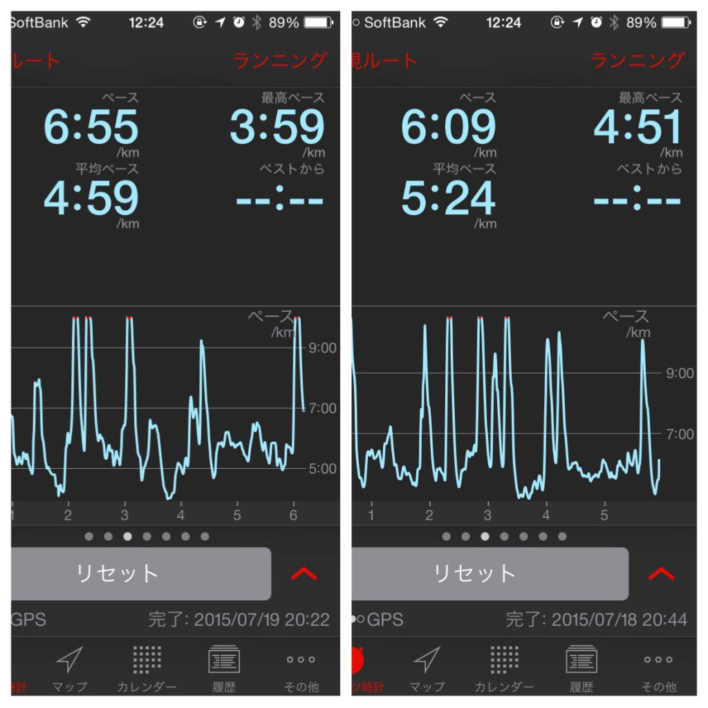 左が180BPM、右が175BPMで走った時の記録。全体のペースが上がっています。