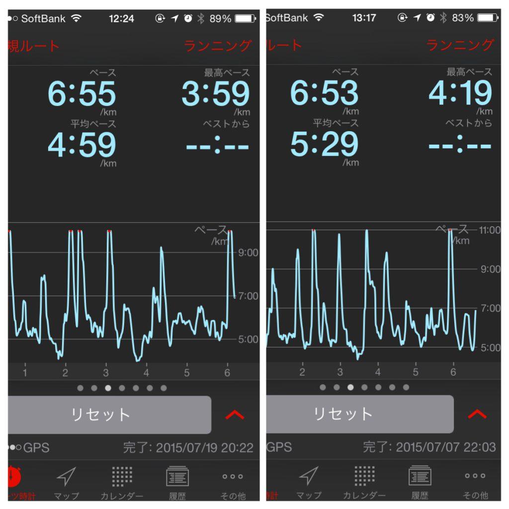 左が180BPM、右が鼻歌の場合。ペースも上がってるけど、鼻歌は自己ペースなのでスピードの上下も激しい。