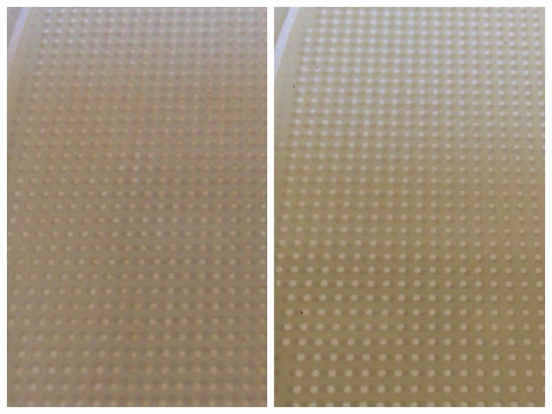 左が掃除前、右が掃除後。白いドットがクリアになってます。