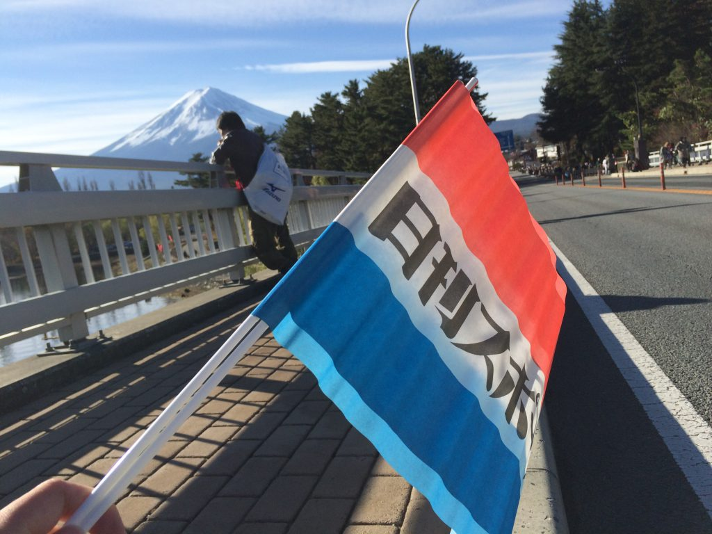 よく見かける応援の旗。初めて振った。