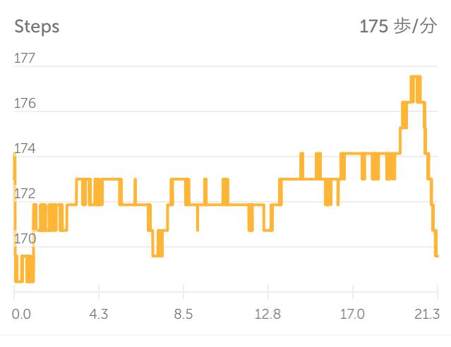 Steps記録。多少の乱れと後半数が増えてますが、平均は175BPM!