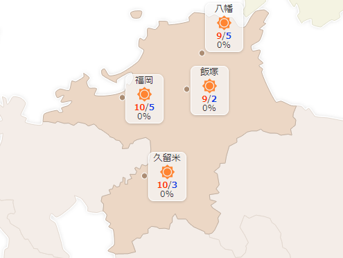 図:ヤフーの天気予報(福岡県)