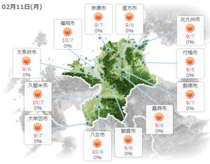 図:tenki.jpの天気予報(福岡県)