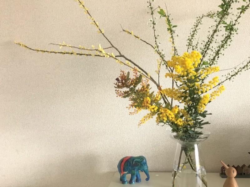 写真:ミモザ、雪柳の入った花瓶