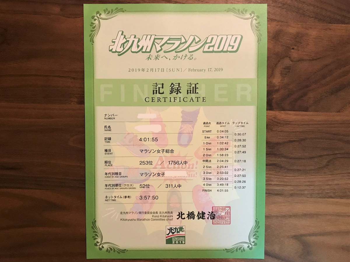 写真:北九州マラソン2019記録証