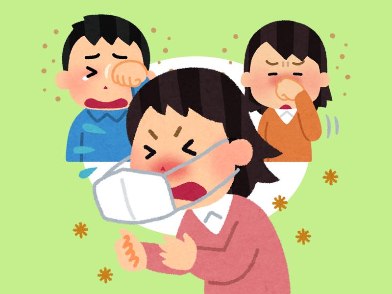 イラスト:くしゃみをする女性