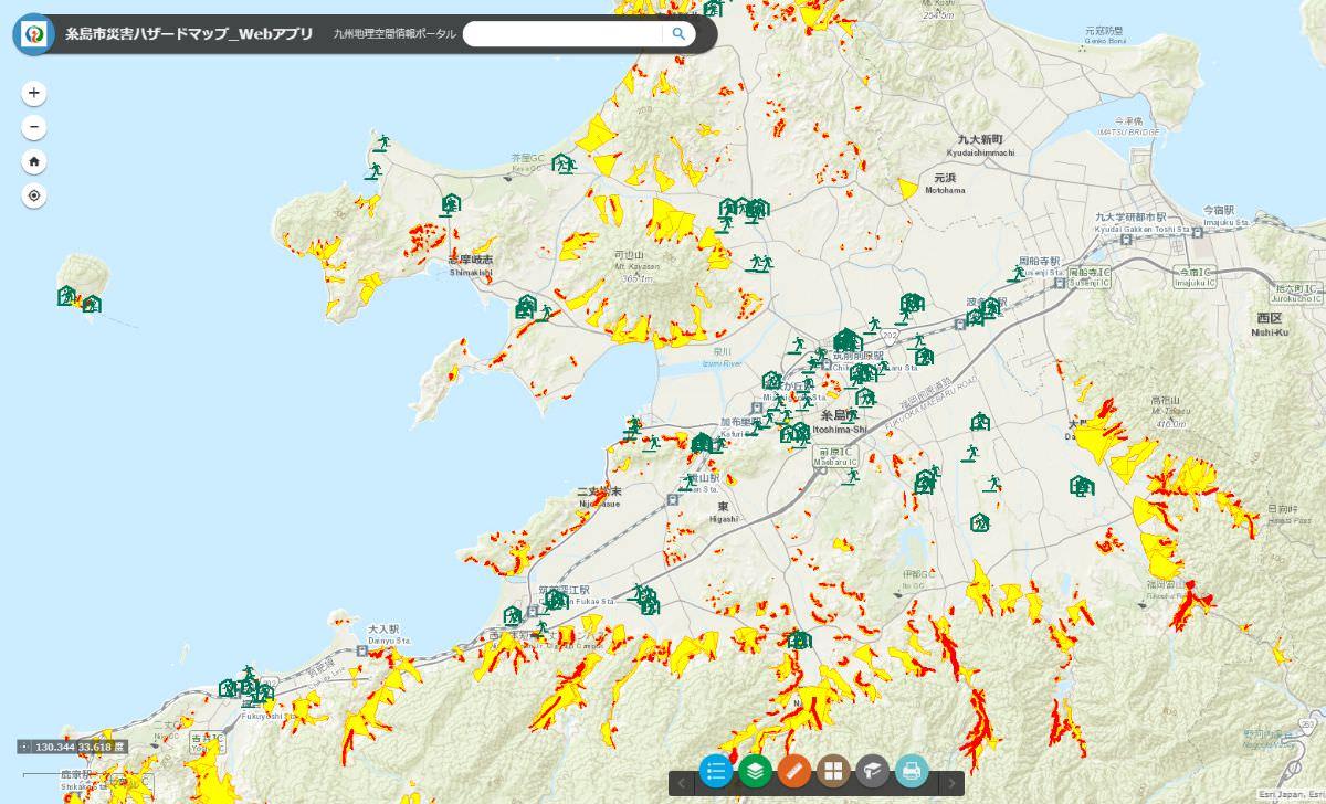 地図:糸島市内ハザードマップ