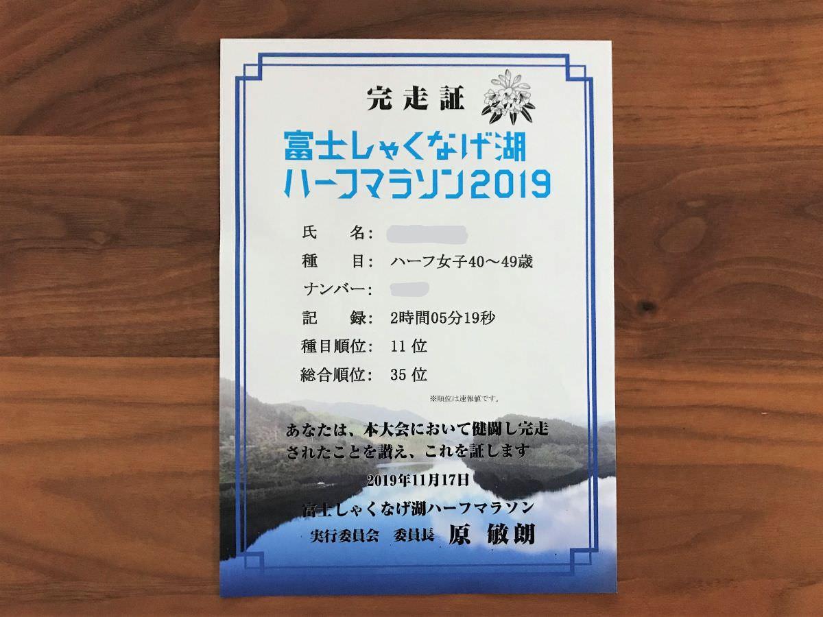 写真:富士しゃくなげ湖ハーフマラソン 完走証