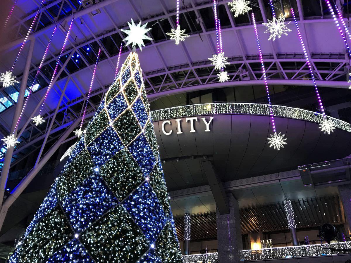 写真:福岡クリスマスマーケットin博多 中心の大きなツリー