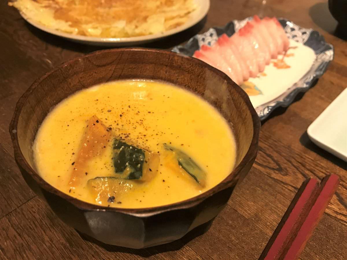 写真:コンソメ味洋風バージョンのかぼちゃスープ