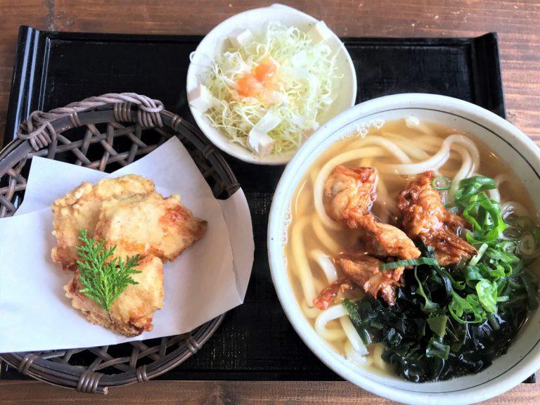 写真:福岡糸島 あじ豊 ちぎり天うどんととり天、サラダ