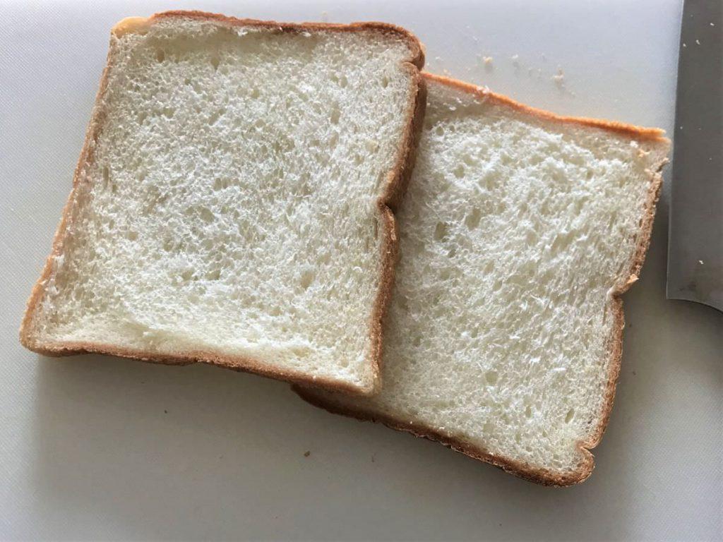 写真:5枚切りパンを10枚切りの厚さにカットできました