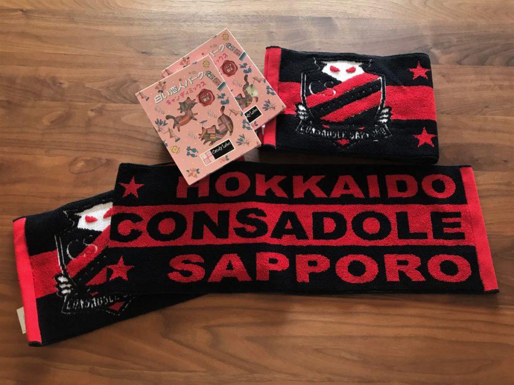 写真:SAPPORO応援RUNの完走賞のタオルマフラーとキャンディ