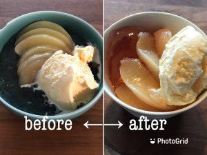 写真:桃デザートの盛り付け、ビフォーアフター。