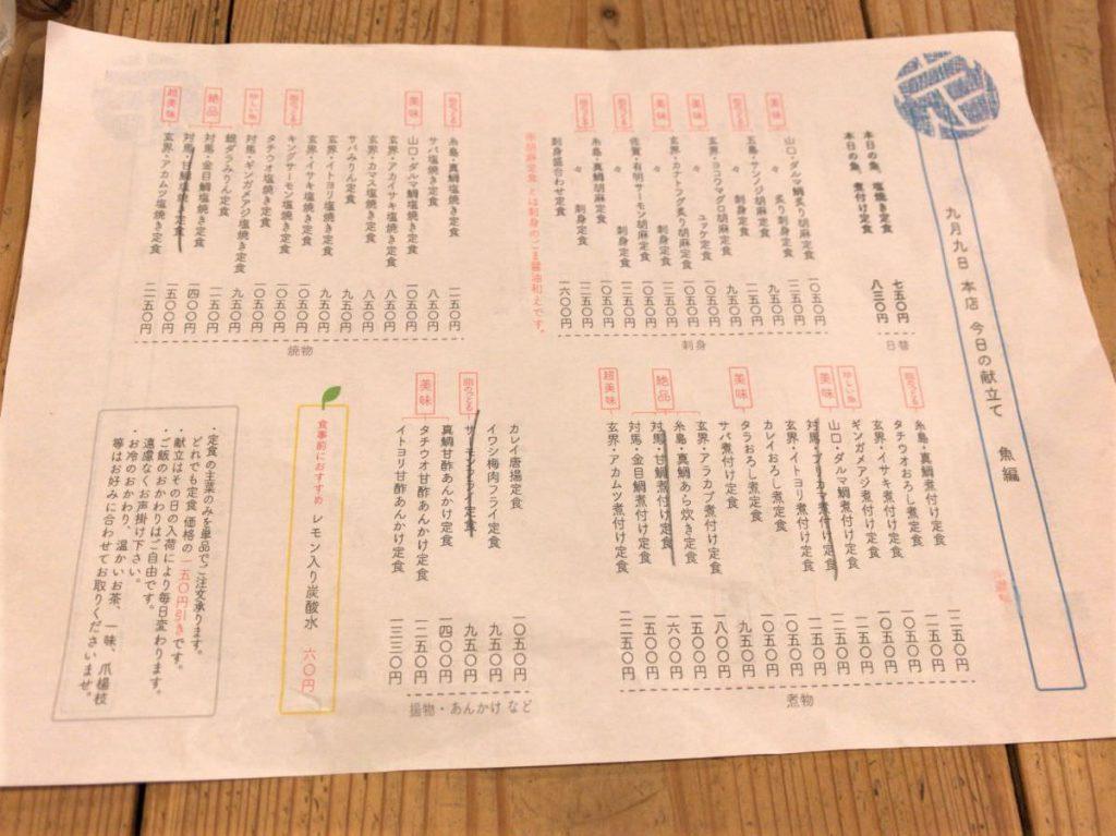 写真:福岡天神 梅山鉄平食堂 この日のメニュー