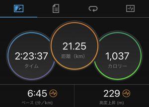 キャプチャ:ハーフマラソンを走った記録