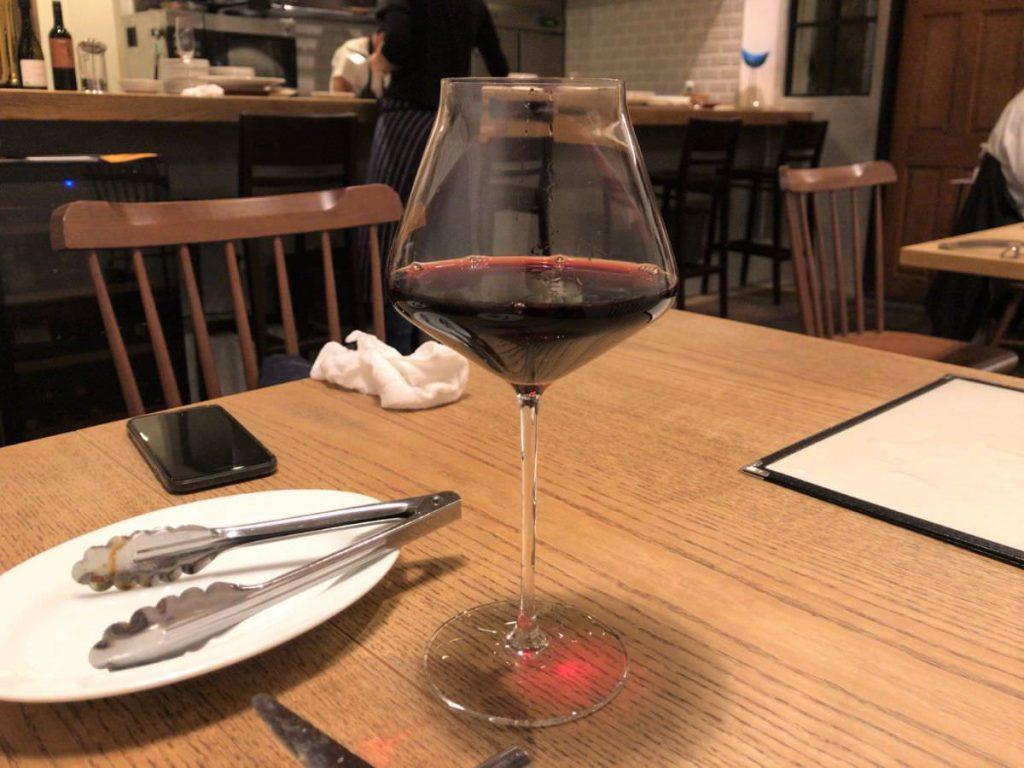 写真:福岡糸島noda 赤ワイングラス(イタリア)をオーダー