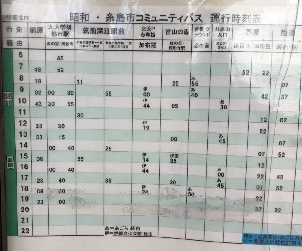 写真:筑前前原駅前のバスの時刻表