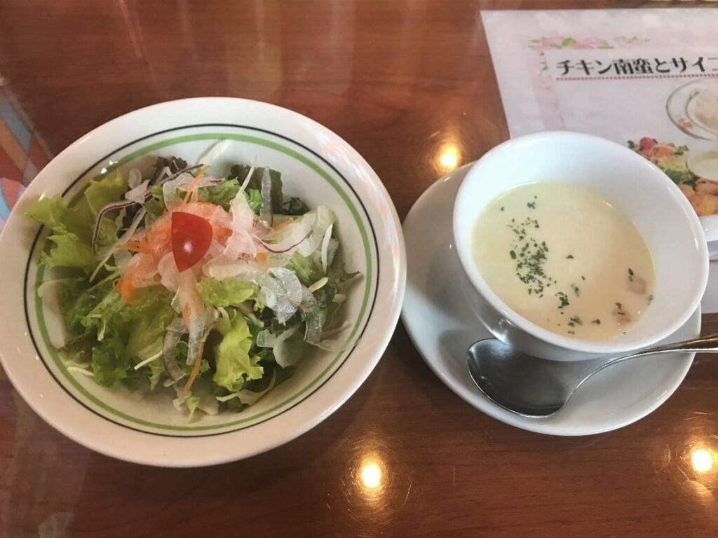 写真:福岡市西区 レストラン加里部 ランチセットのサラダとスープ