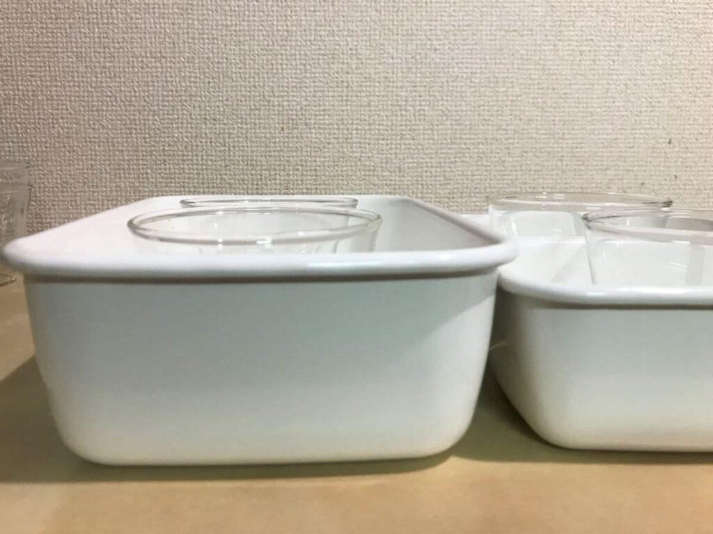 写真:湯煎する場合の高さも申し分ない野田琺瑯のタッパー