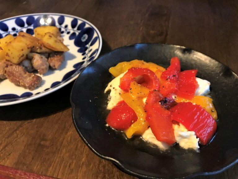 写真:パプリカのマリネとモッツァレラチーズのサラダ